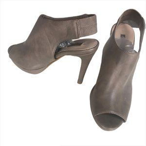 Next Grey Leather Heeled Peep Toe Ankle Bootie 37
